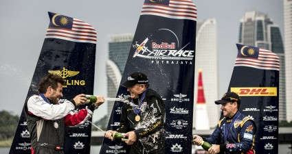 Podium finishers at the ed Bull Air Race World Championship Malaysia