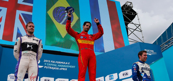 2015/2016 FIA Formula E Championship. Putrajaya ePrix, Putrajaya, Malaysia. Lucas Di Grassi (BRA), ABT Audi Sport FE01 celebrates on the podium with Sam Bird (GBR), DS Virgin Racing DSV-01 and Robin Frijns (NLD), Andretti - Spark SRT_01E. Saturday 07 November 2015. Photo: Zak Mauger/LAT ref: Digital Image _L0U2513